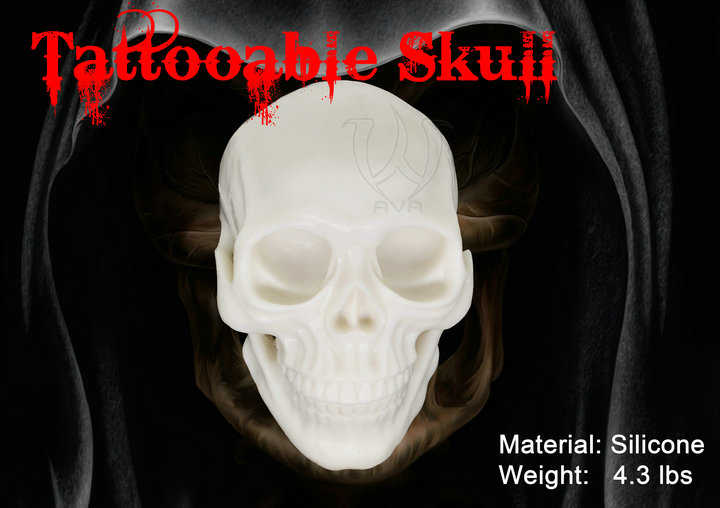 Food-grade Silicone 3D Tattooable Practice Skull